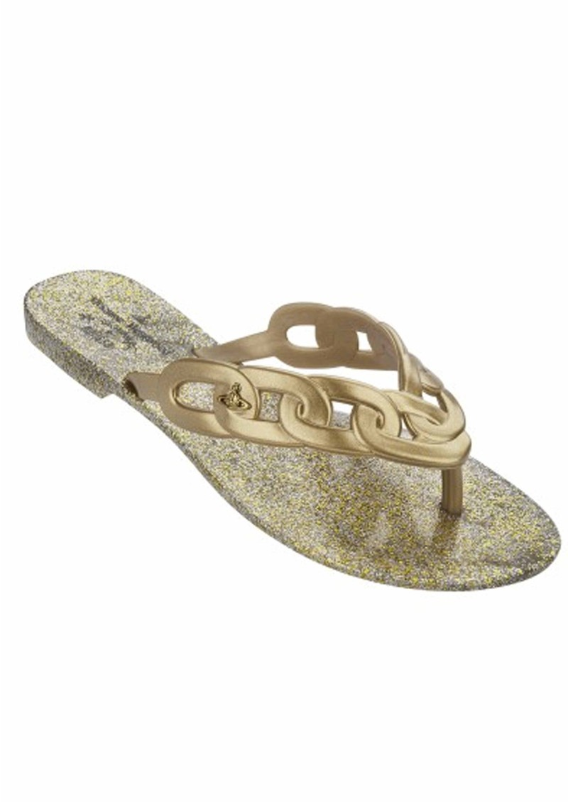 Melissa Vivienne Westwood Harmonic Links Flip Flops - Gold main image