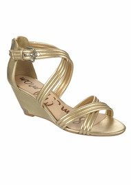Sam Edelman Sloan Low Wedge Sandals - Rich Gold