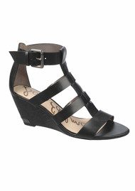 Sam Edelman Sabrina Vaquero Low Wedge Sandals - Black