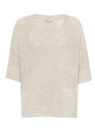 Great Plains Mariam Knit V Neck Top - Salt White