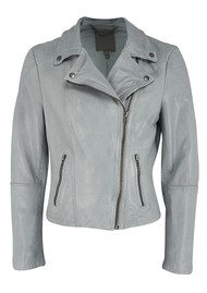 Muubaa Indus Leather Bike Jacket - Powder Blue