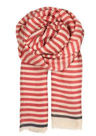 Becksondergaard M Pure Stripe Wool & Silk Mix Scarf - Pink Ice