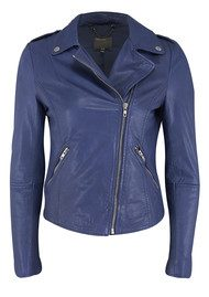 Muubaa Carmona Biker Leather Jacket - Colbalt Mazzarine