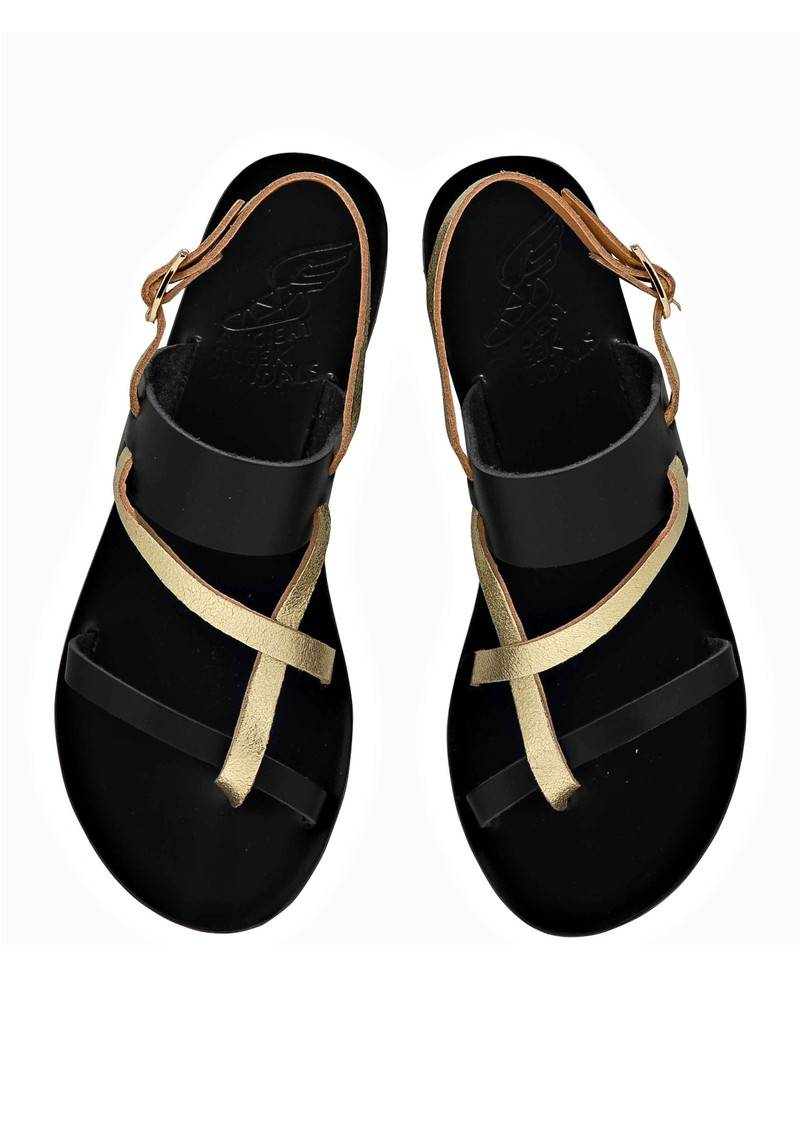 Ancient Greek Sandals Althea Flat Sandals - Black & Gold main image