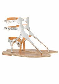 ACIENT GREEK S Themis Wing Sandals - Cracked Silver