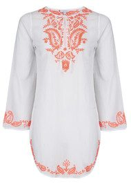 Star Mela Long Sleeve Cotton Rajika Kaftan - White