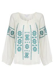 Star Mela Long Sleeve Cotton Ula Top - Turquoise