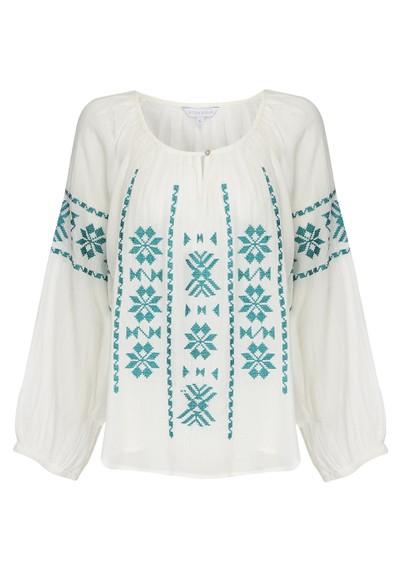 Star Mela Long Sleeve Cotton Ula Top - Turquoise main image