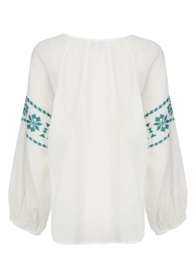 Star Mela Long Sleeve Cotton Ula Top - Turquoise main image
