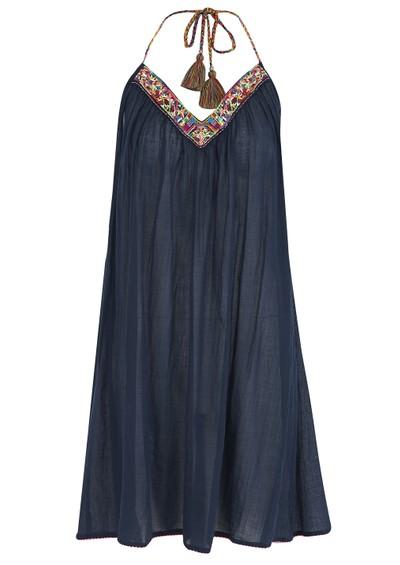 Star Mela Ina Cotton Embroidered Sun Dress - Navy main image