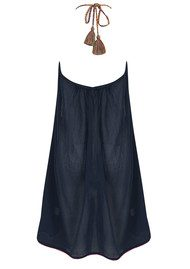 Star Mela Ina Cotton Embroidered Sun Dress - Navy
