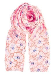 Becksondergaard K Dots & Flowers Scarf - Neon Orange