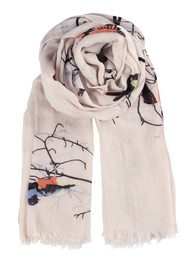 Becksondergaard K Colourful Birds Scarf - Crystal Grey