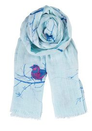 Becksondergaard K Colourful Birds Scarf - Aqua Sky