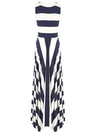 NADIA TARR Paris Striped Ball Gown - Navy