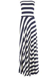 NADIA TARR Paris Lyon Striped Maxi Dress - Navy