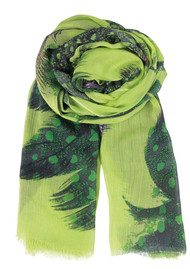 Becksondergaard K Feathers Dream Modal & Cashmere Blend Scarf - Lime Punch