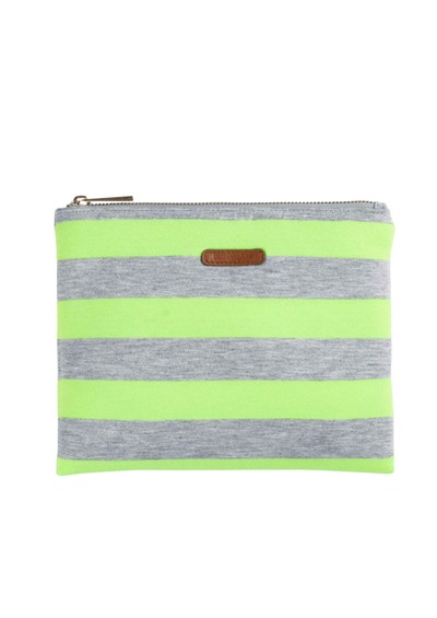 Becksondergaard K Lollypop Jersey Clutch Bag - Neon Yellow & Grey main image