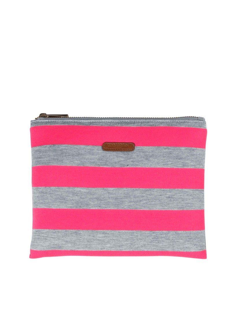 K Lollypop Jersey Clutch Bag - Neon Pink & Grey main image