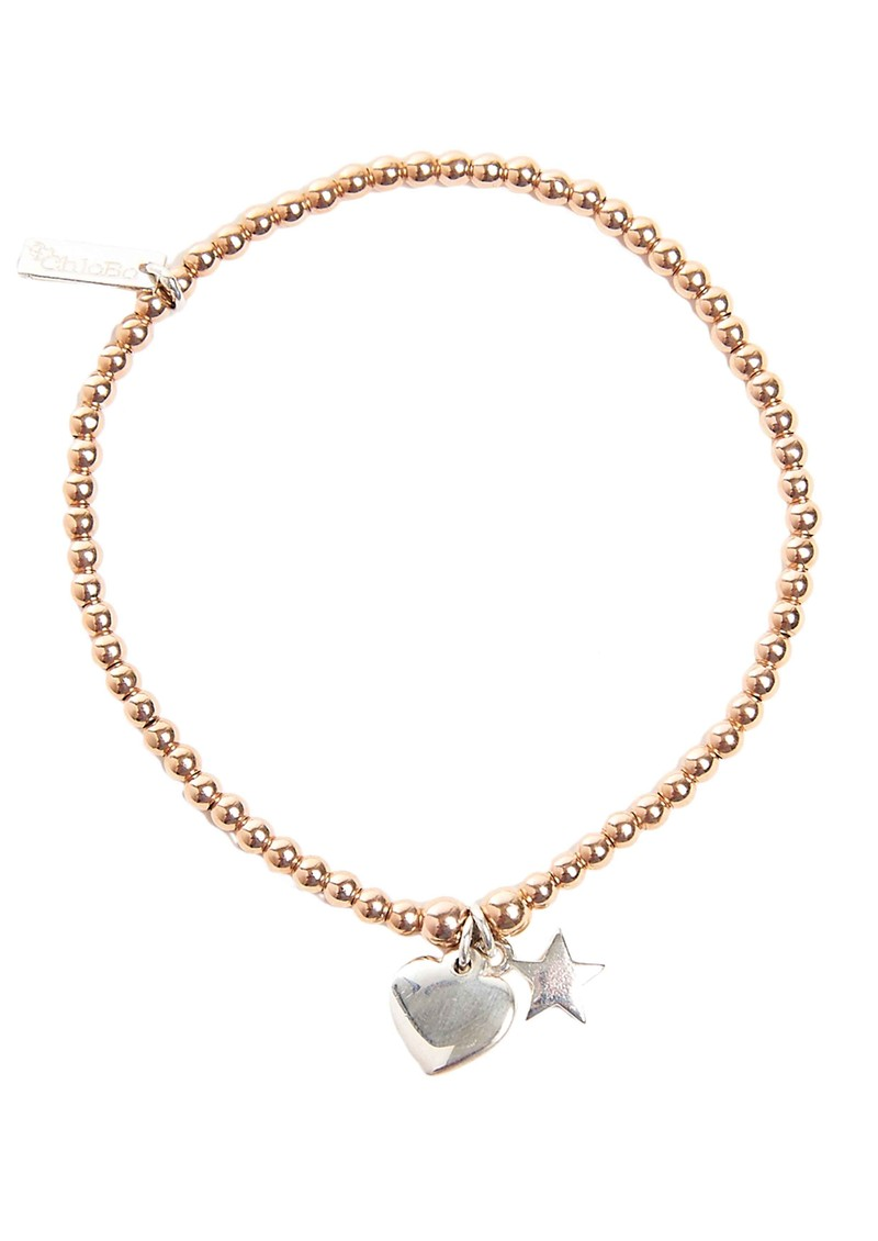 ChloBo EXCLUSIVE Cute Charm Bracelet with Heart & Star Charms - Silver & Rose Gold main image