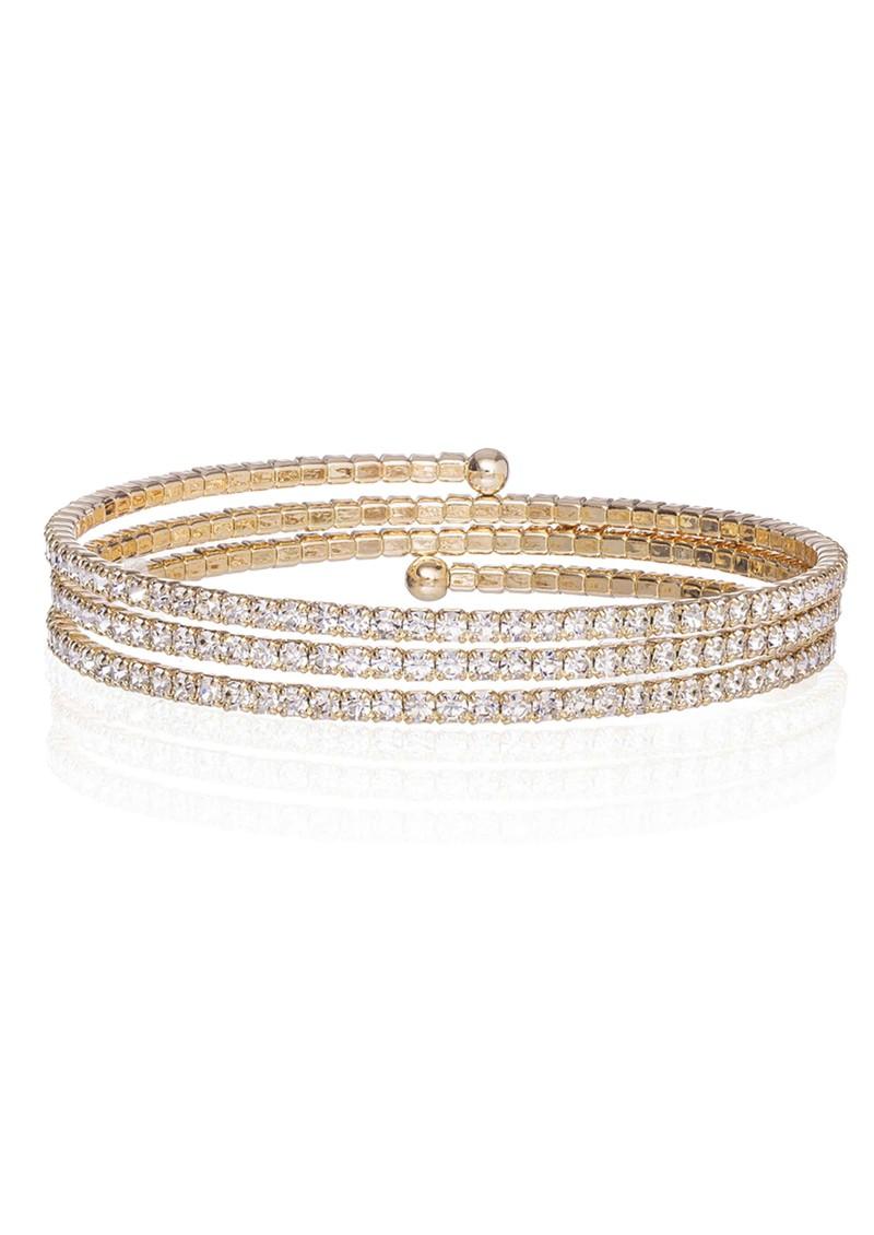 Ingenious Slinky Wrap Around Pave Bracelet - Gold main image