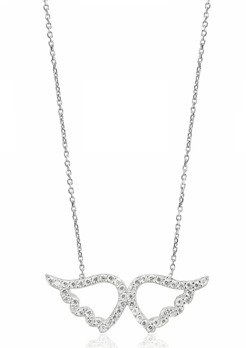 Ingenious Angel Wing Pave Necklace - Silver main image
