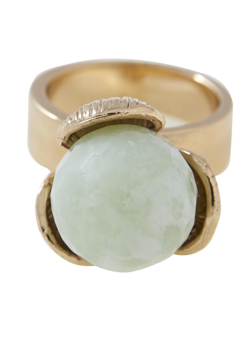 Lola Rose Merdia Water-lily Ring - Gold & Green  main image