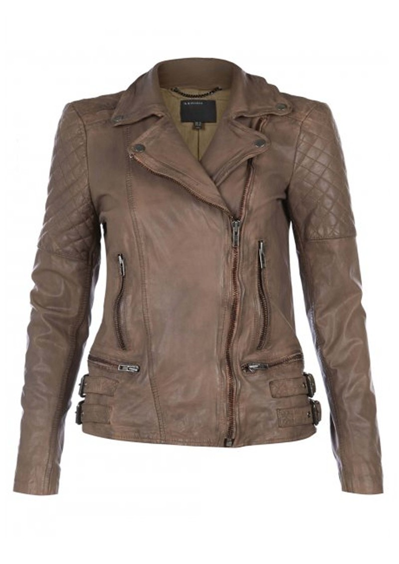Muubaa Rokel Biker Leather Jacket - Beige main image