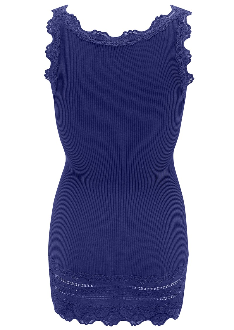 Rosemunde Wide Lace Silk Blend Tank - True Blue main image