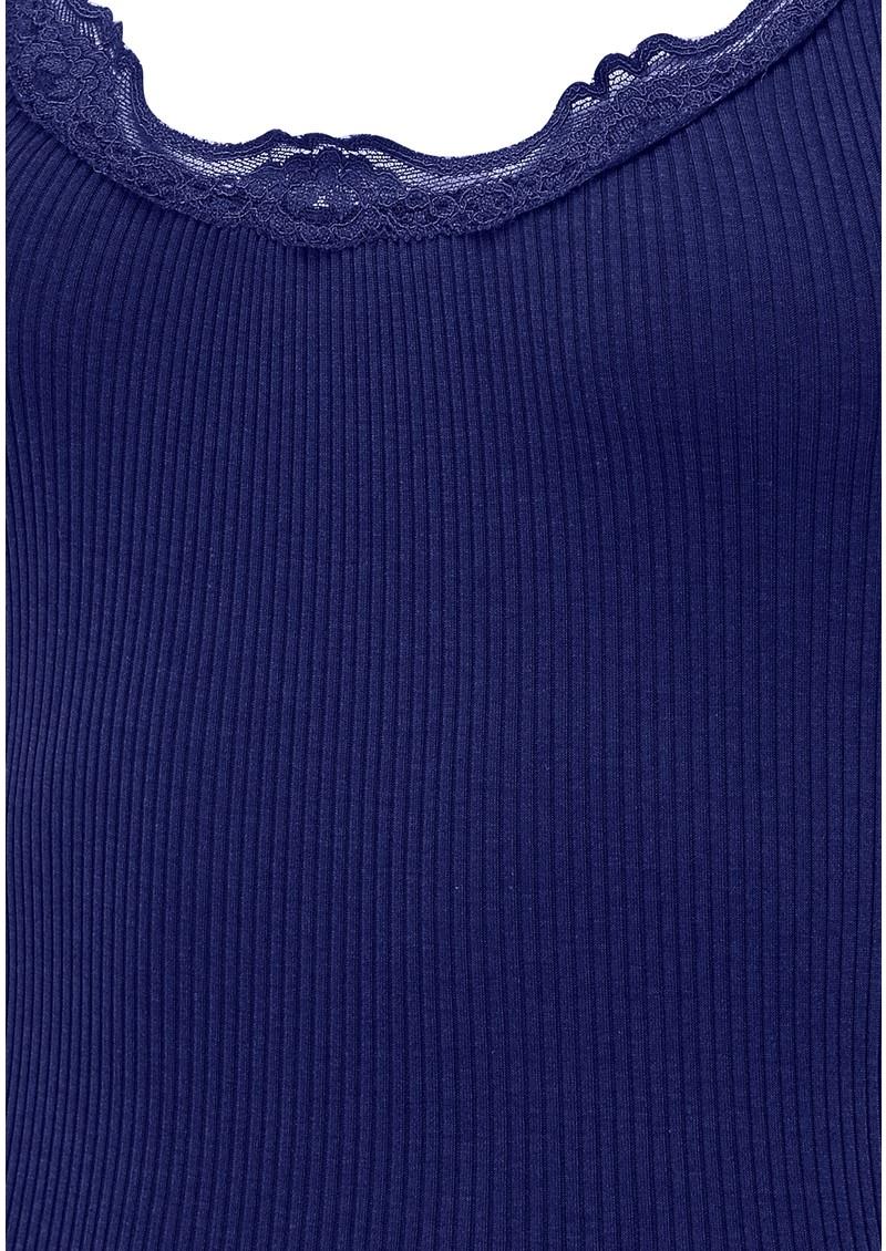 Wide Lace Silk Blend Tank - True Blue main image