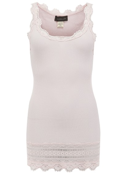 Rosemunde Wide Lace Silk Blend Tank - Soft Rose main image