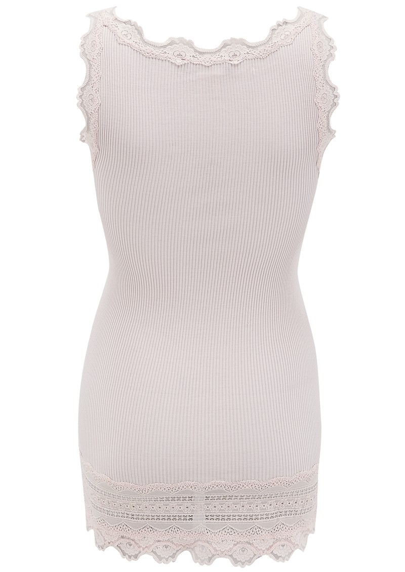 Wide Lace Silk Blend Tank - Soft Rose main image
