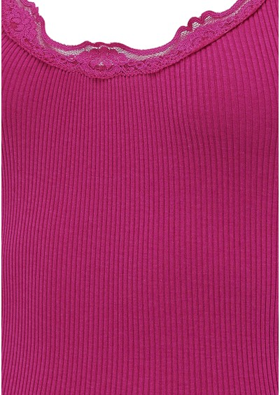 Rosemunde Wide Lace Silk Blend Tank - Light Cherry main image