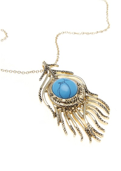 House Of Harlow Eye Of Wisdom Necklace - Gold & Turquoise  main image