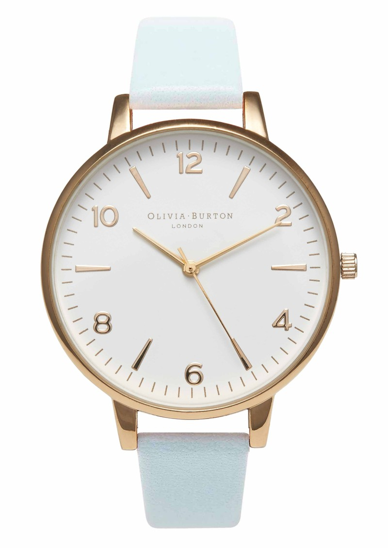 Olivia Burton Large White Face Watch - Gold & Powder Blue main image