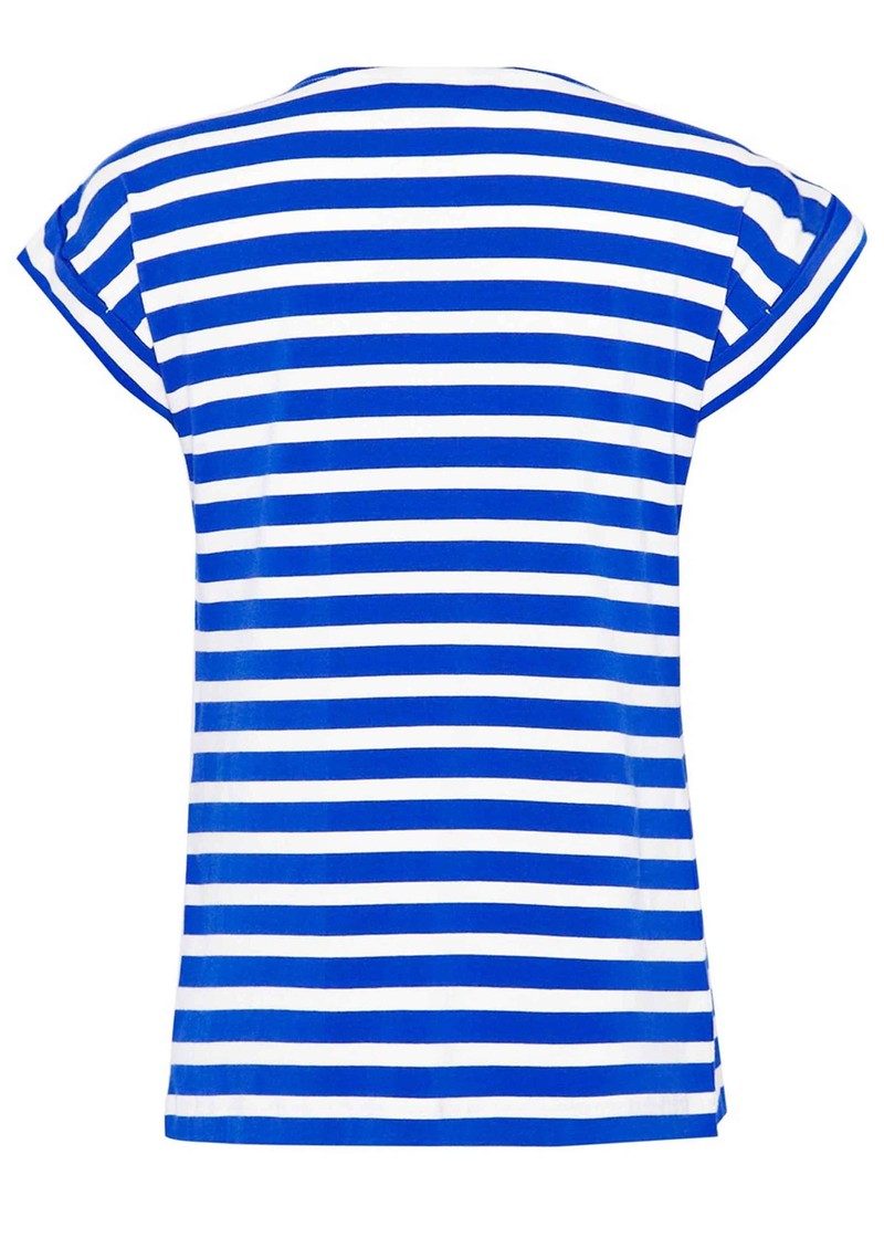 Great Plains Lucy Stripe Embellished Top - Cobalt Blue & Salt main image
