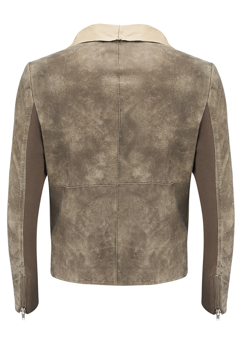 Elbe Drape Leather Jacket - Desert  main image