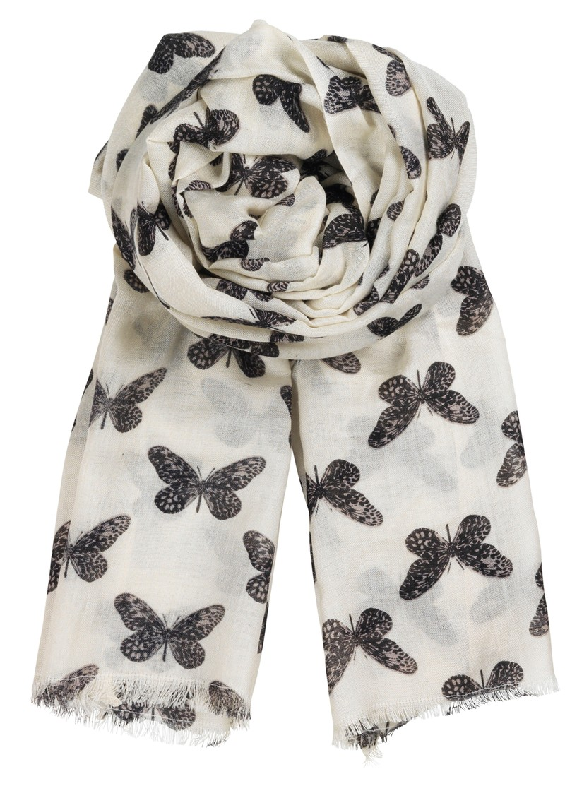 Becksondergaard L-Winter Butterfly Silk Mix Scarf - Black main image