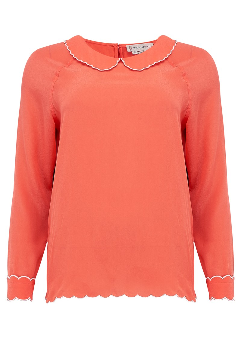 Paul and Joe Sister Schubert Silk Long Sleeve Blouse - Coral main image