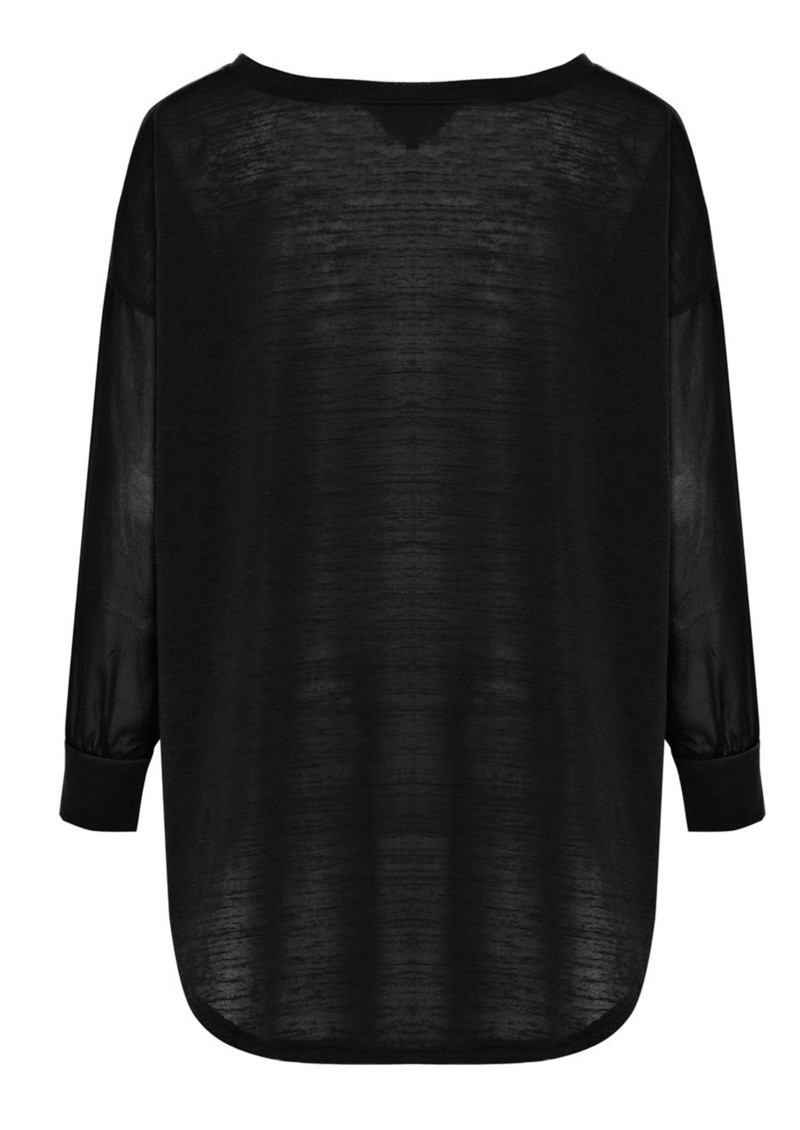 Lana Chiffon Long Sleeve Top - Black main image