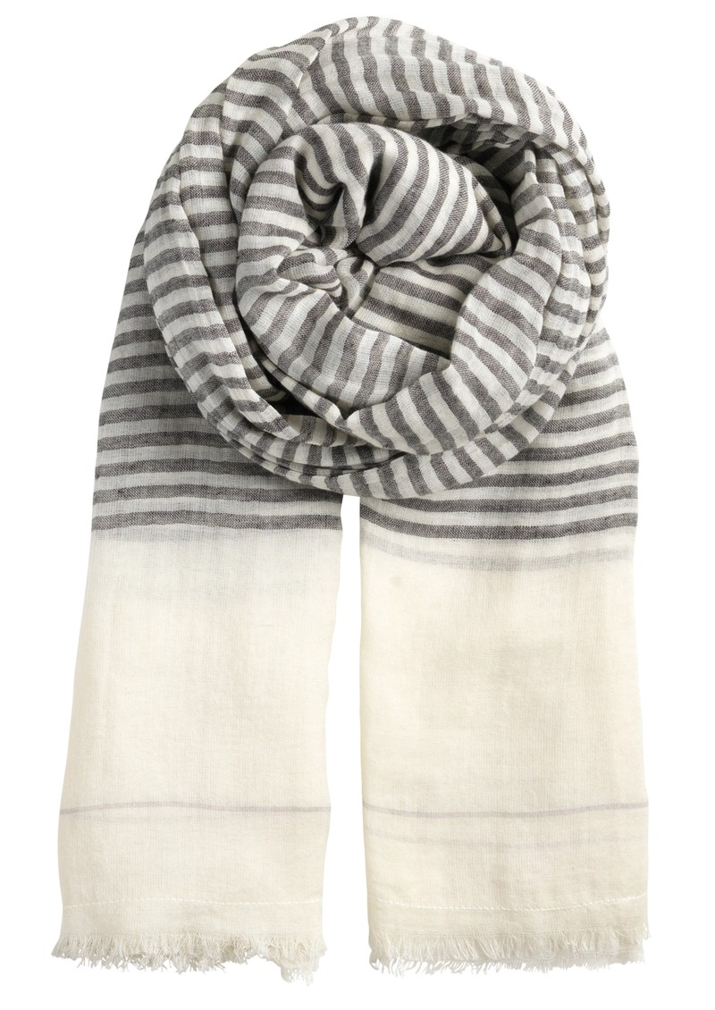 L-Just a Stripe Cotton Scarf - Black main image
