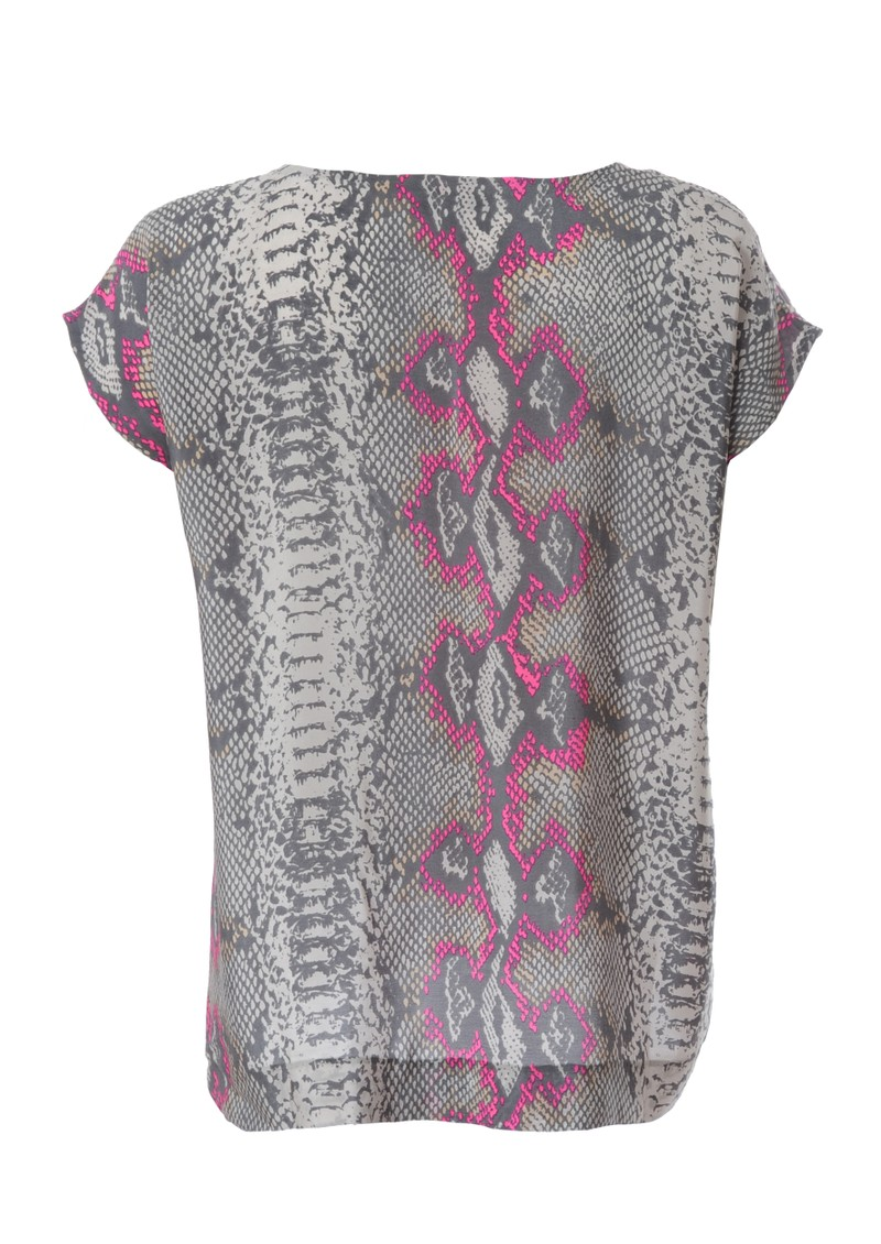 Mercy Delta Blair Python Short Sleeve Silk Top - Pink main image