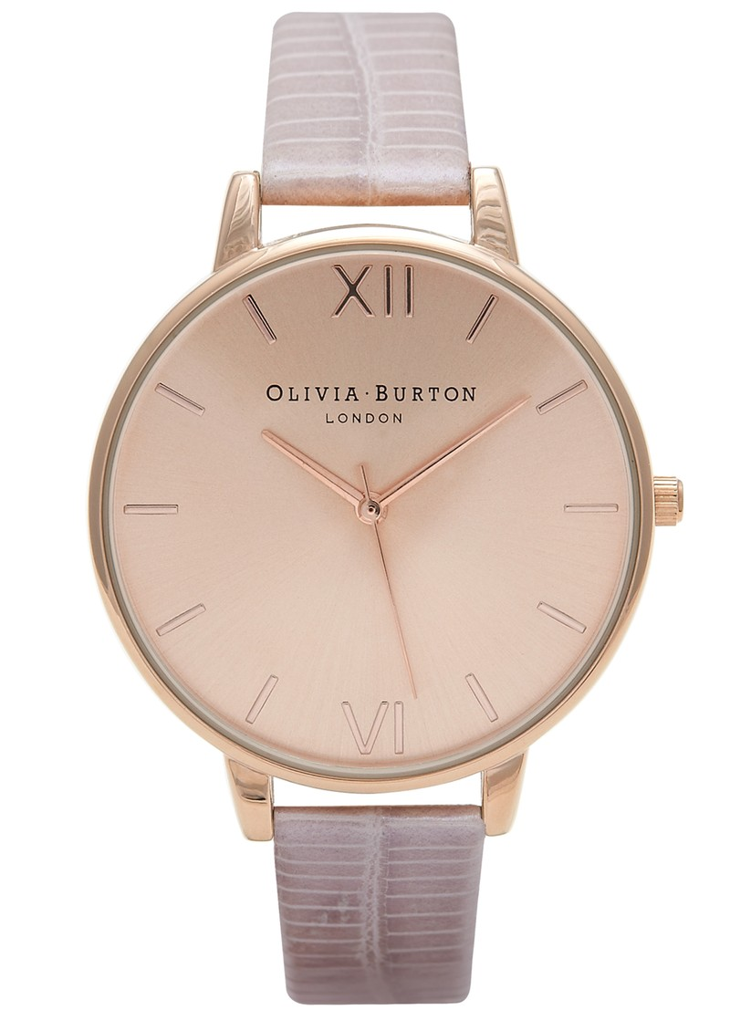 Olivia Burton Exclusive Big Dial Watch - Rose Gold and Mock Croc  main image