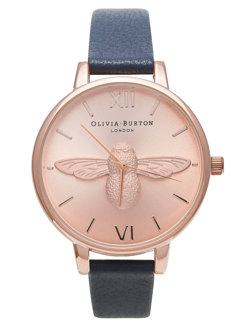 Olivia Burton Woodland Moulded Bee Watch - Rose Gold & Navy main image