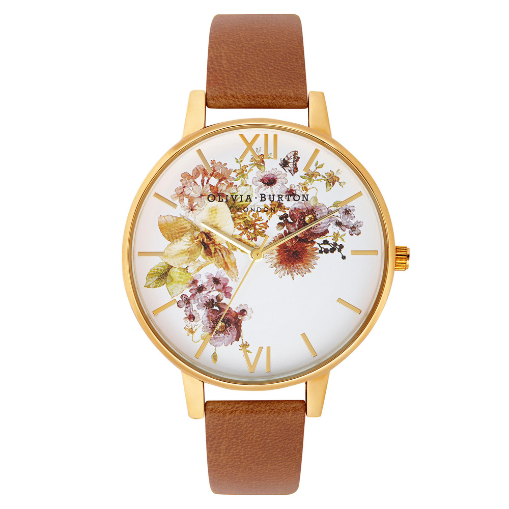 Flower Show Watch - Gold & Tan