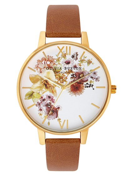 Olivia Burton Flower Show Watch - Gold & Tan main image