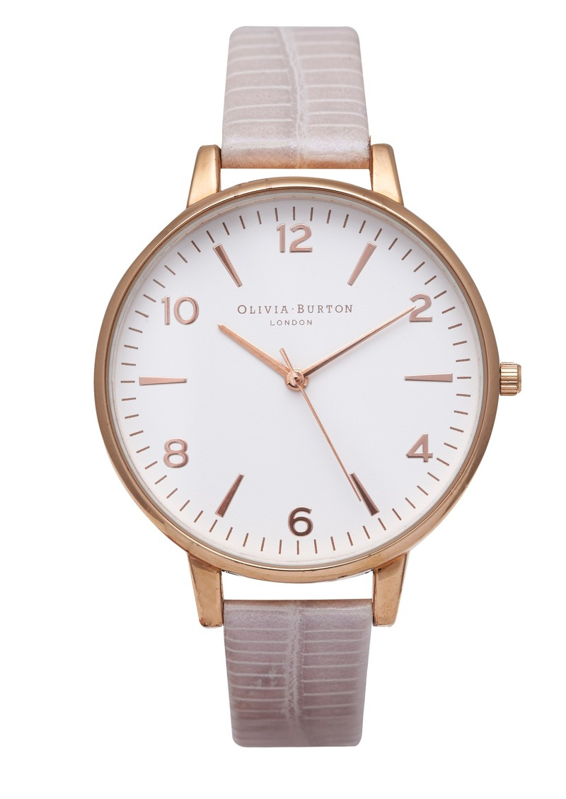Olivia Burton Large White Face Watch - Rose Gold & Pearl Pink Croc main image