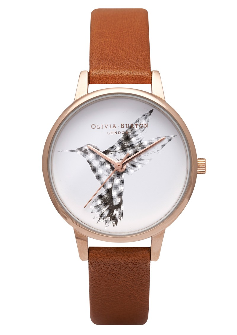Olivia Burton Animal Motif Midi Hummingbird Watch - Gold & Tan main image