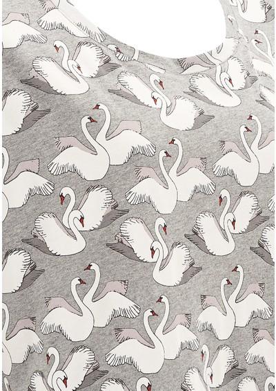 Paul and Joe Sister Lake Swan Printed Cotton Tee - Grey main image