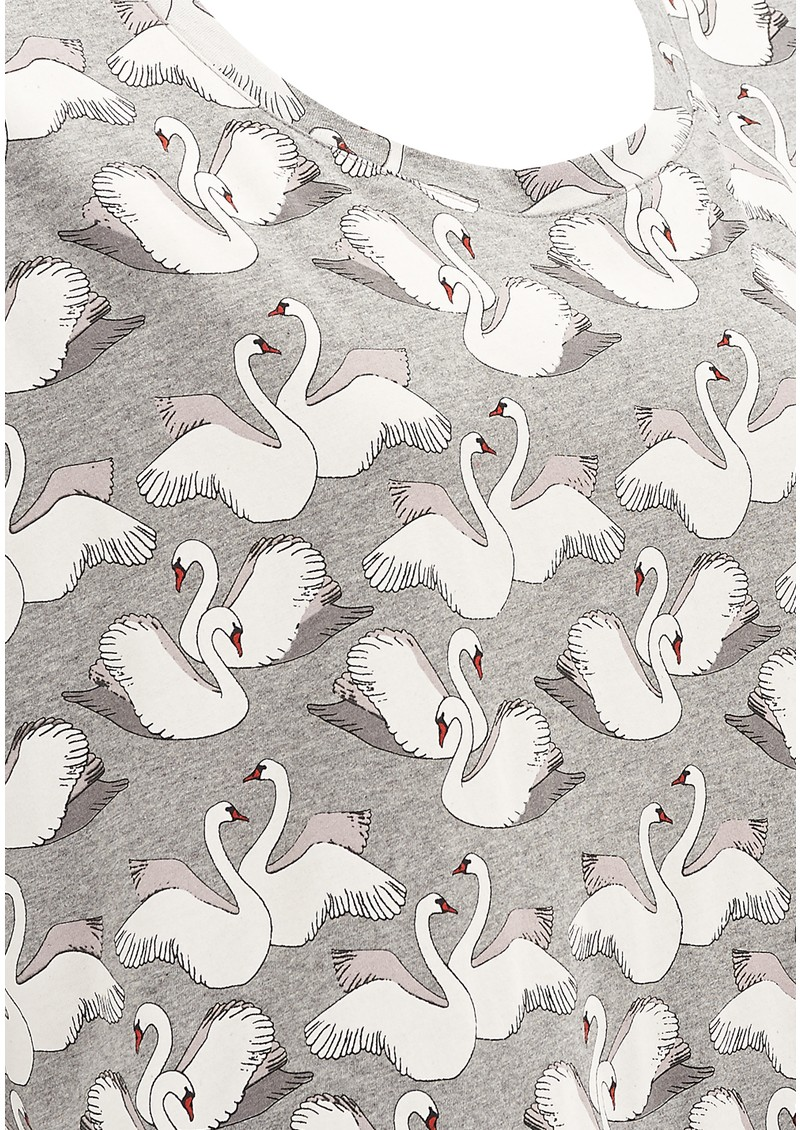 Paul and Joe Sister Lake Swan Printed Cotton Tee - Grey main image